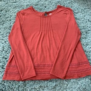 Old navy red orange long sleeve blouse